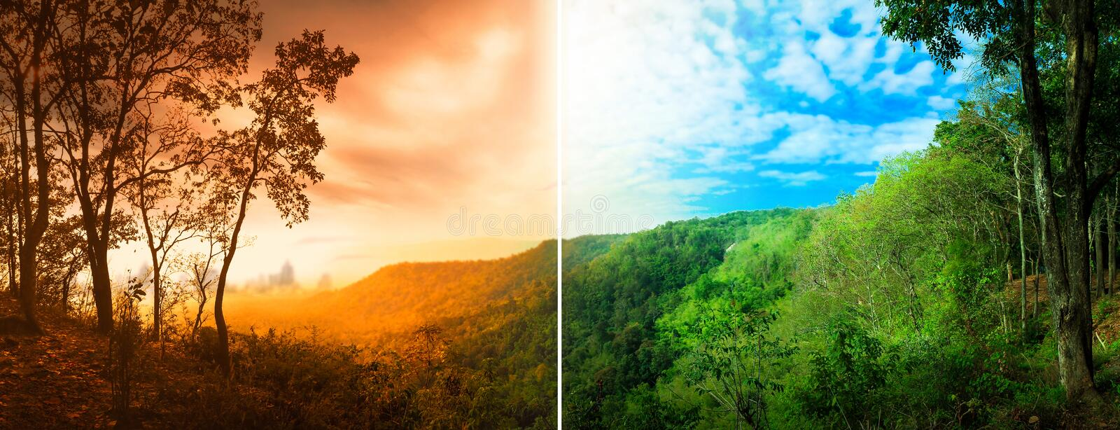 Global warming caused by greenhouse gases from bad pollution industrial plants. Climate change affects the nature and temperature. Of the world. The difference royalty free stock image