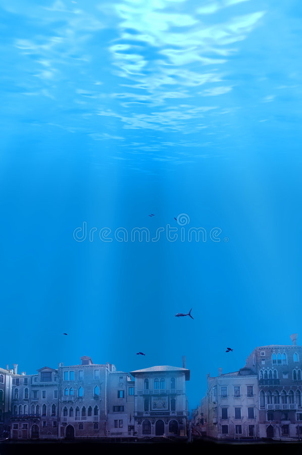 Global Warming City Submerged royalty free stock images