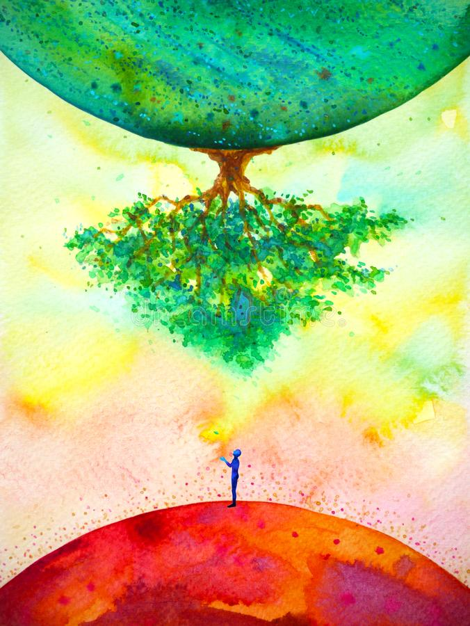 Global warming climate change abstract art spiritual mind human watercolor painting illustration design hand drawing royalty free stock image