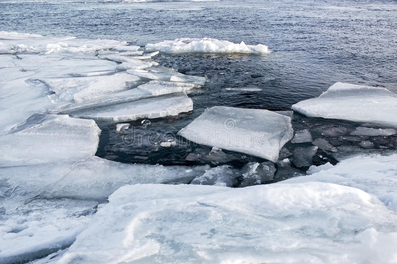 Global warming and climate change the concept because of melting ice. Spring thaw royalty free stock photography