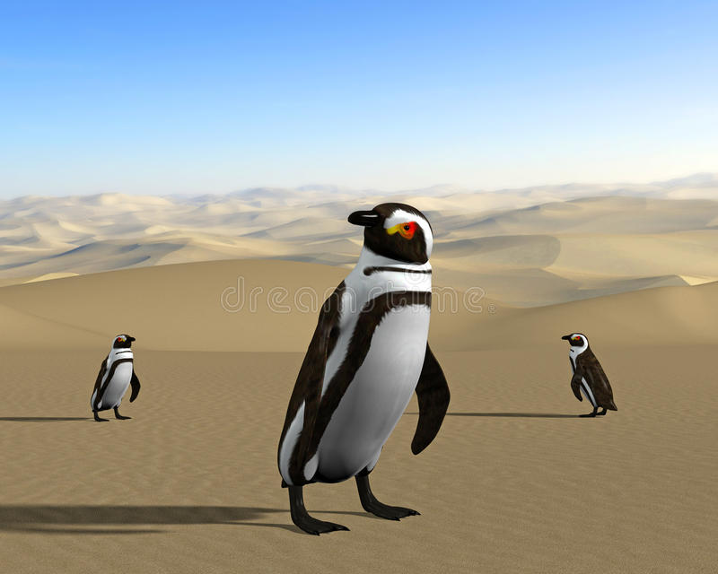 Global Warming, Climate Change, Desert Penguins stock illustration