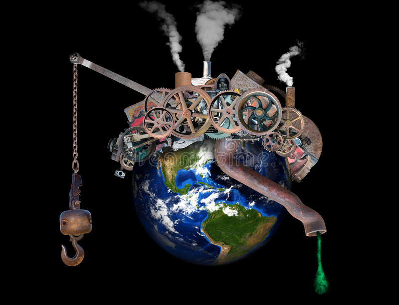 Global Warming, Climate Change, Pollution. The planet Earth is filled with industrial manufacturing factories and machines giving cause for alarm for global