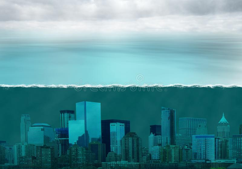 Global Warming Climate Change, Weather. Abstract concept for global warming and climate change. A city is underwater in the sea or ocean because of the melting stock photography