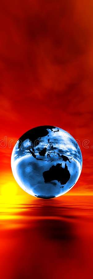 Global warming concept. Blue earth against sunset vector illustration
