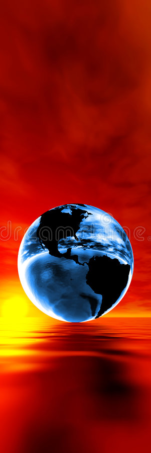 Global warming concept. Blue earth against sunset royalty free illustration