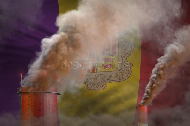 Global warming concept - heavy smoke from factory chimneys on Andorra flag background with place for your content - industrial 3D. Heavy smoke of industrial stock illustration