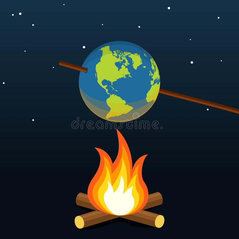 Global warming concept. Planet earth bonfire climate change. Vector royalty free illustration