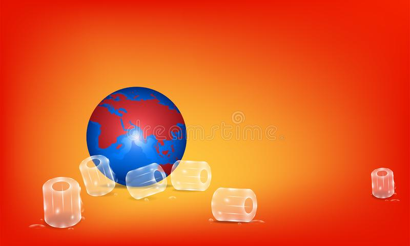 Global warming concept. prop up the earth by ices. hot planet.  illustration esp10 stock illustration