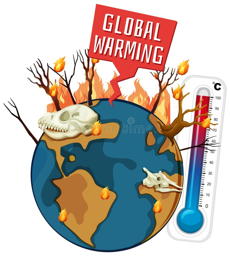 Global warming with deforestation on earth royalty free illustration