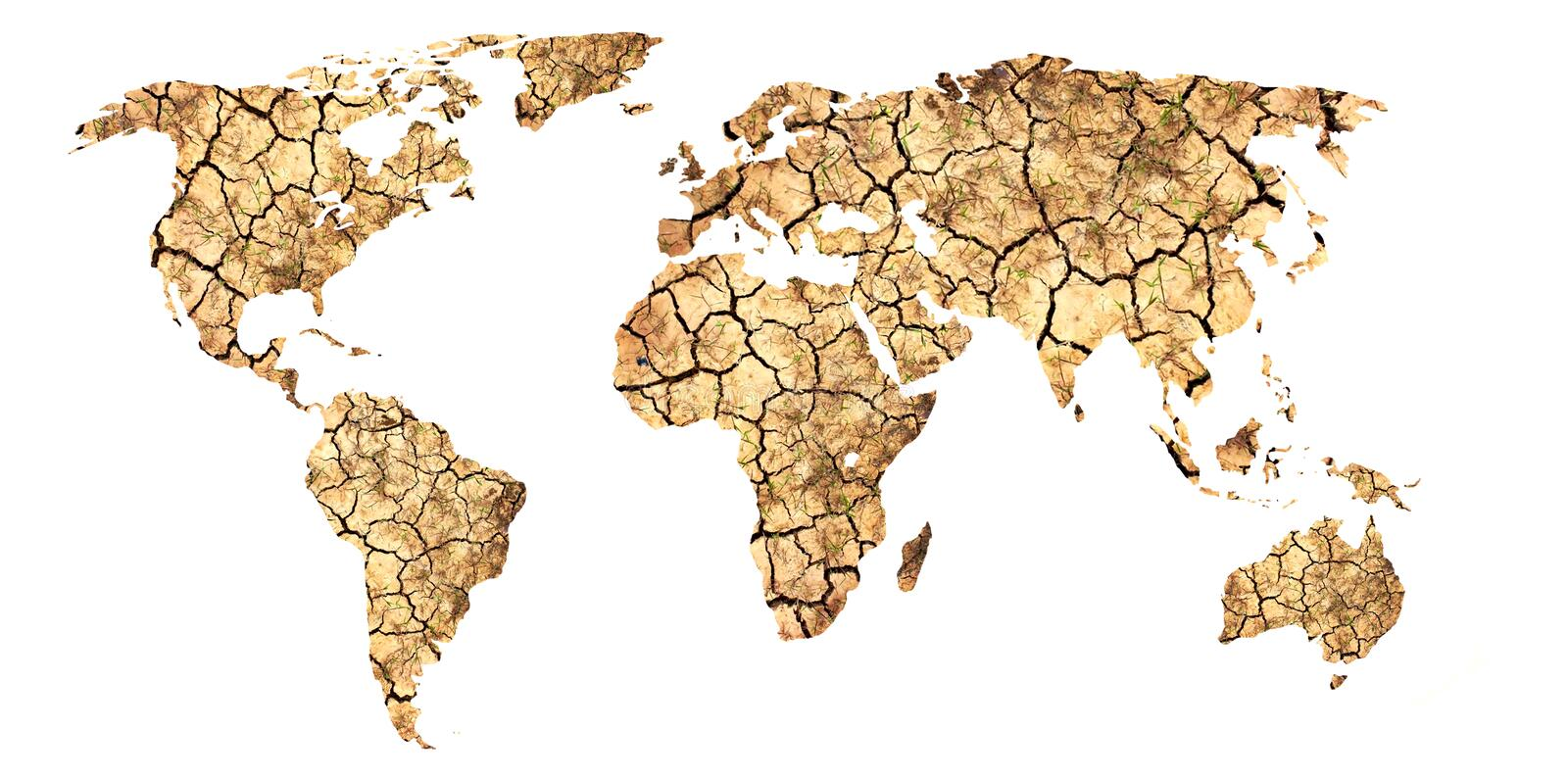 Global warming. The dried-up earth of continents. stock images