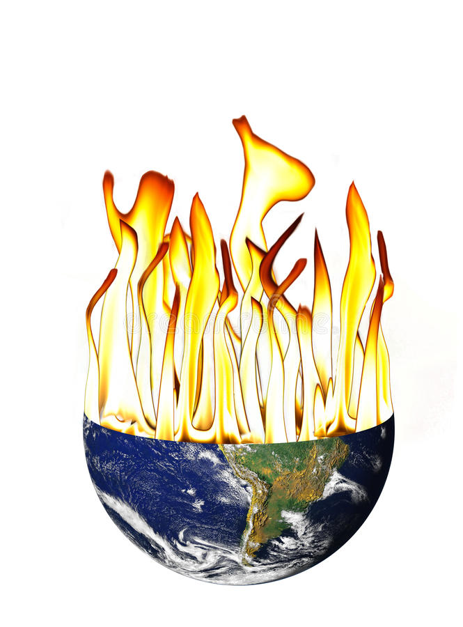 Global Warming of the earth with Flameson White royalty free stock photography