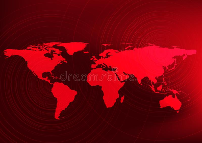 Global warming effect,Warning to people and Red world map concept,design for education and science,. stock illustration