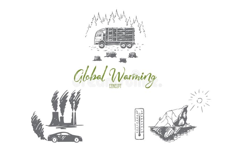 Global warming - factory pollution, iceberg melting, cutting down trees vector concept set. Hand drawn sketch isolated illustration stock illustration