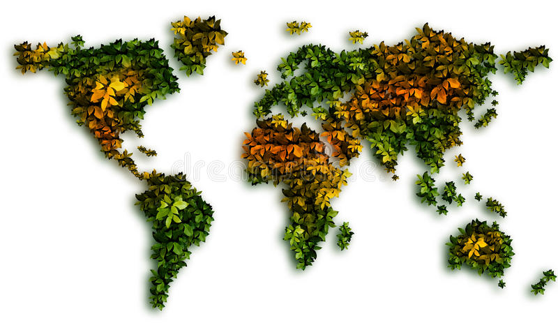 Global Warming and green Leaves royalty free stock image