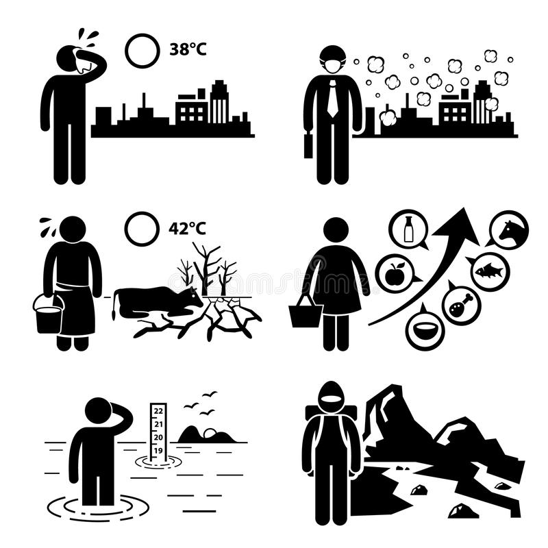 Global Warming Greenhouse Effects Cliparts royalty free illustration