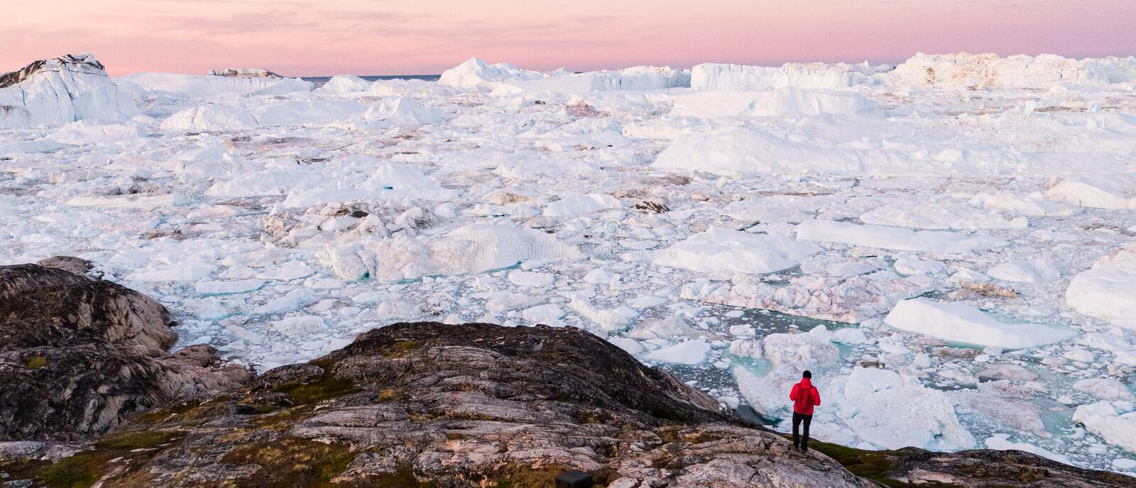 Global warming - Greenland Iceberg landscape of Ilulissat icefjord with icebergs royalty free stock photography