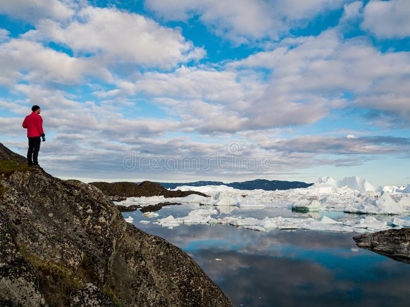 Global warming - Greenland Iceberg landscape of Ilulissat icefjord with icebergs stock photography