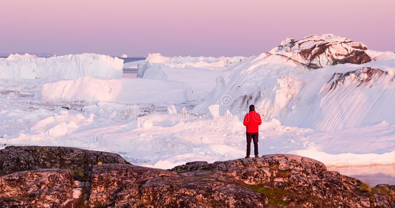 Global warming - Greenland Iceberg landscape of Ilulissat icefjord with icebergs royalty free stock image