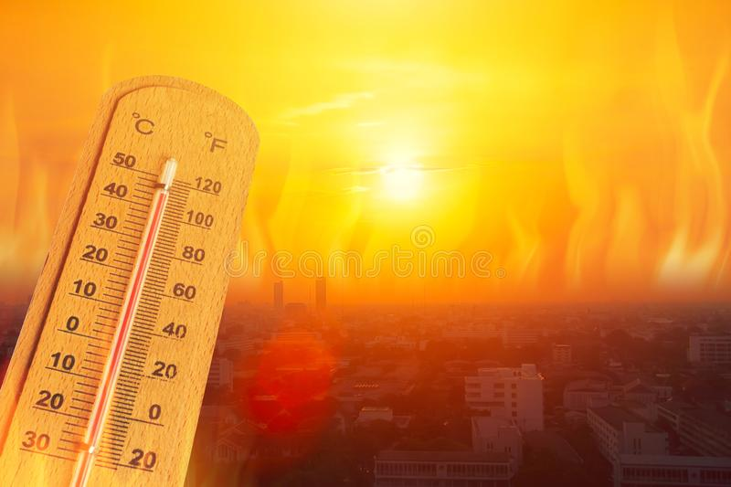 Global warming high temperature city heat wave in summer season concept stock photography
