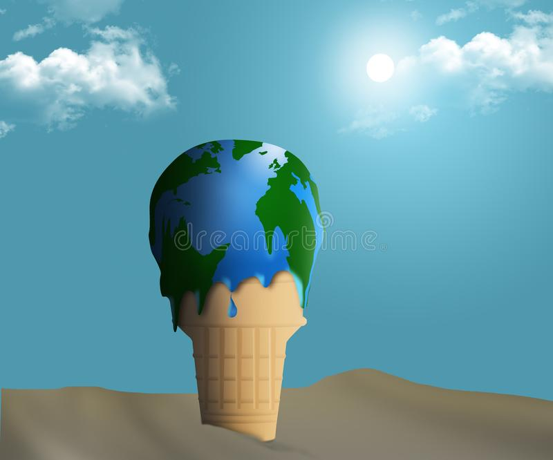 Global warming is illustrated with a melting ice cream cone and the ice cream appears to also be a globe map of earth stock illustration