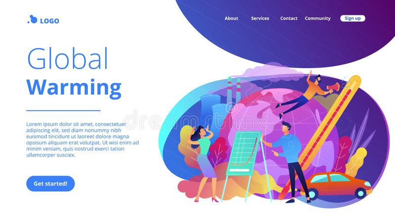 Global warming landing page. People in panic to announce global heating data. Global warming landing page. Globe with power plant and traffic fumes, environment vector illustration