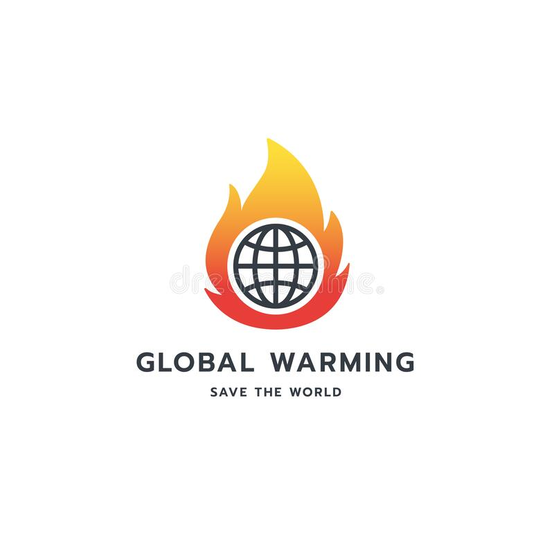 Global warming logo symbol design. Vector image with Earth globe and flames in negative space. Protect the planet royalty free illustration
