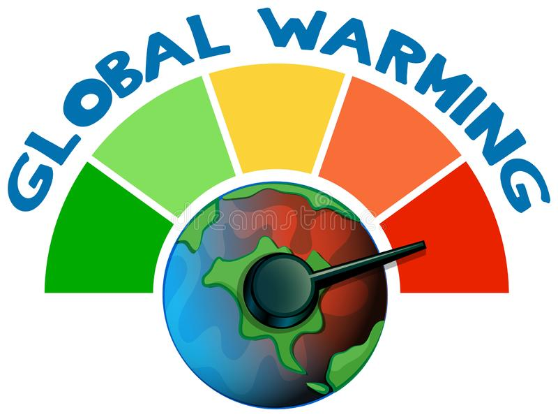 Global warming with measuring scale royalty free illustration