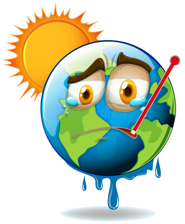 Global warming with melting earth vector illustration