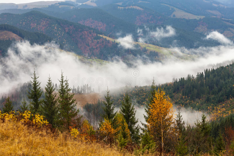Global warming. mountain landscape. Clouds and fog royalty free stock images