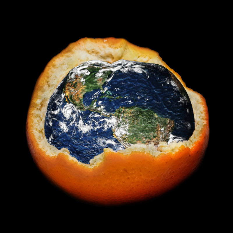 Global warming and ozone layer destroying. Planet Earth on a dark background stock images