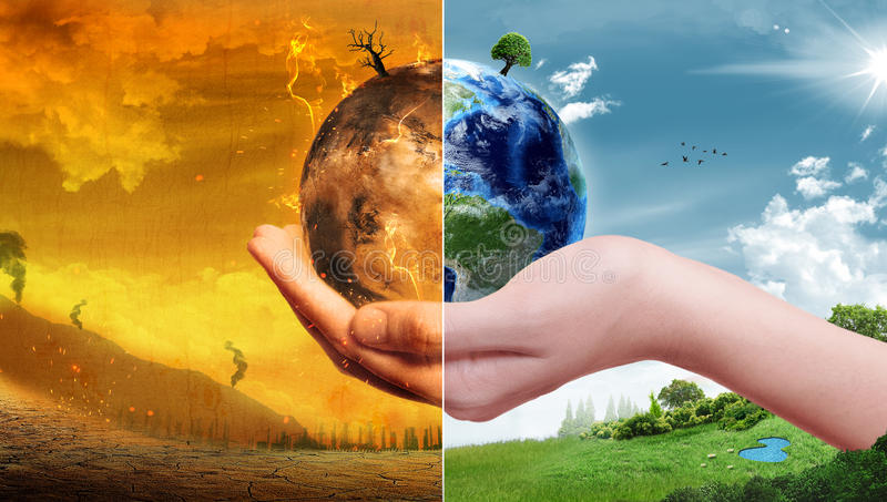 Global Warming and Pollution Concept - Sustainability (Elements of this image furnished by NASA). Global Warming and Pollution Concept with Earth in hand with royalty free illustration