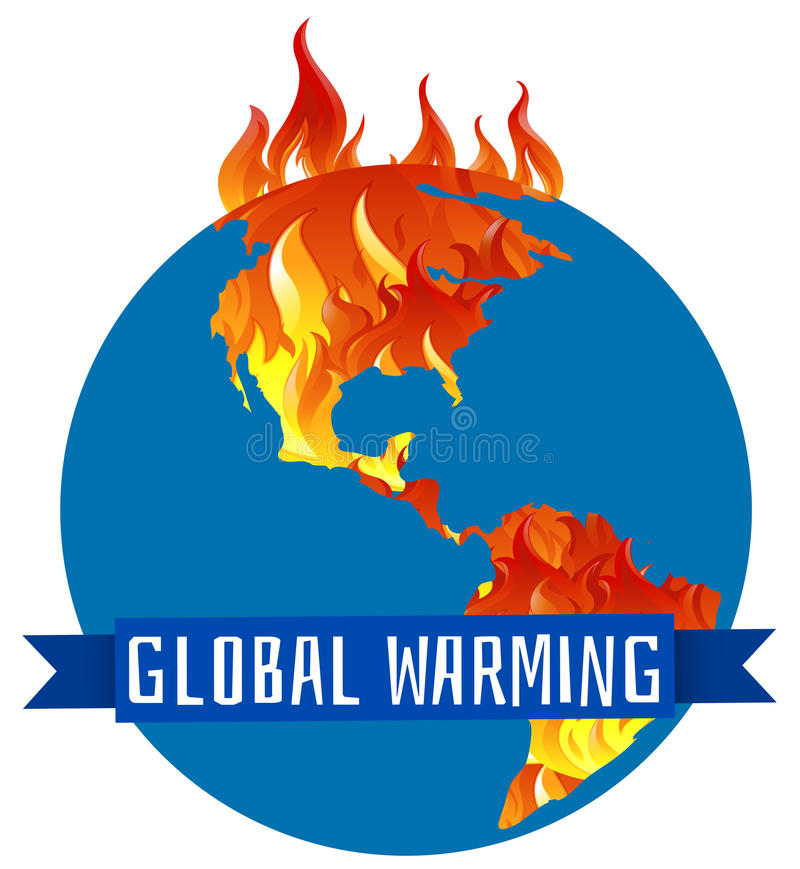 Global warming poster with earth on fire stock illustration