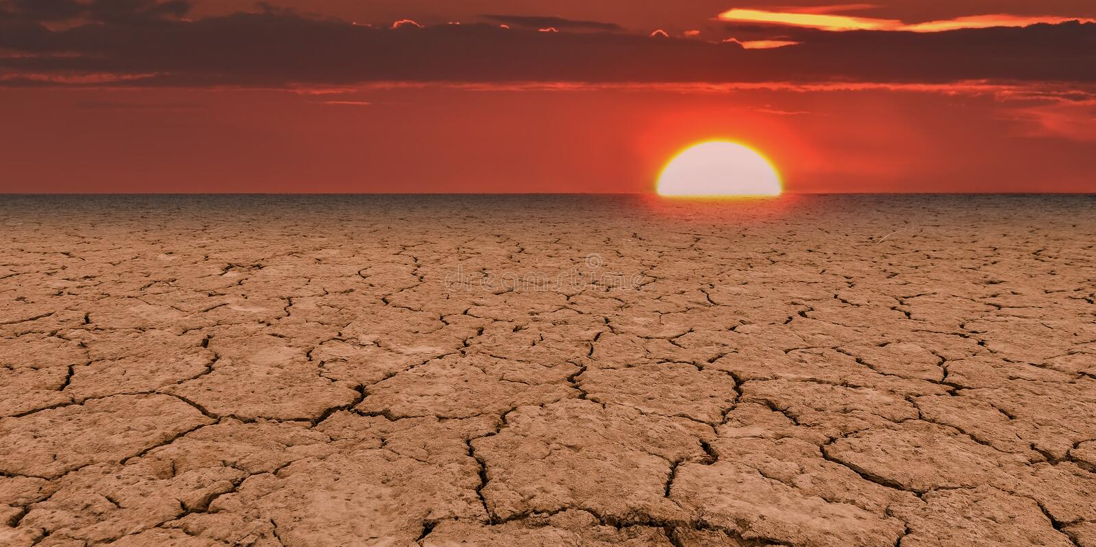 Global warming is a real threat for our civilization. Conceptual composite image symbolizing a drastic change in climate of our planet stock image
