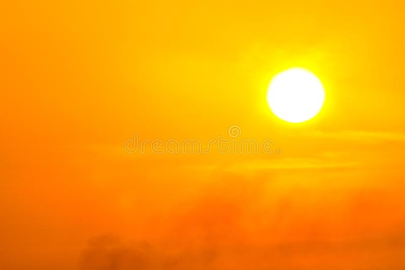 Global warming from the sun and burning, heat wave hot sun, climate change. Background, bright, carbon, celsius, city, concept, damage, day, dioxide, disaster stock image
