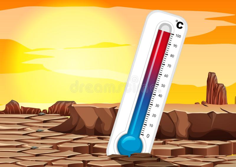 Global warming with thermometer in dry land vector illustration