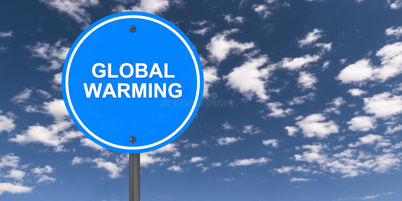 Global warming traffic sign. On blue sky stock illustration