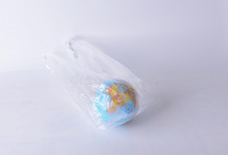 Global warming the world of plastic. Model, white, object, , background stock photo