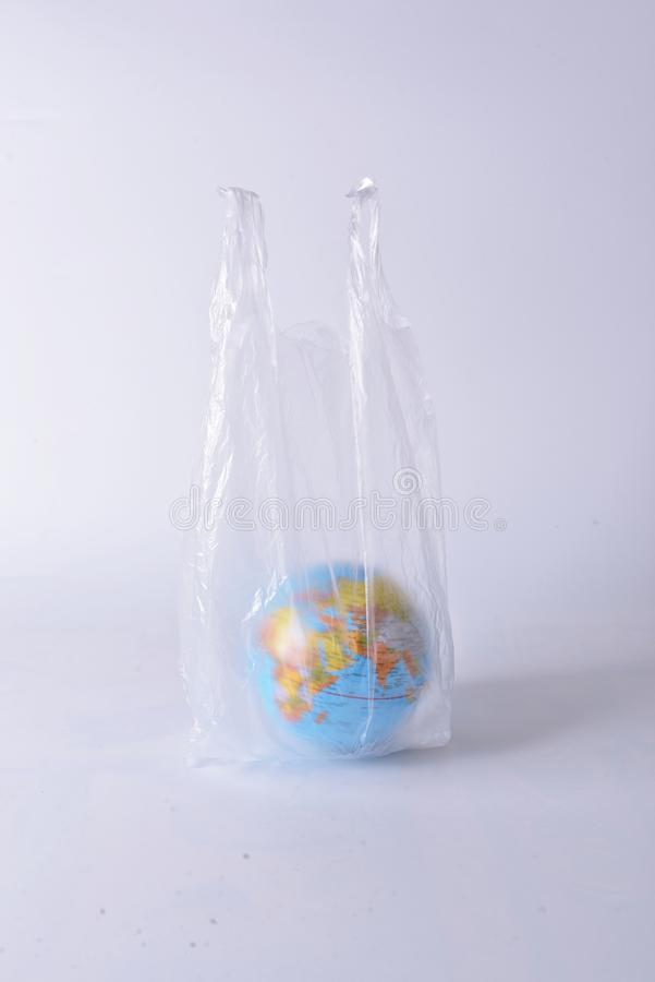 Global warming, The world of plastic. Object, whitebackground, model stock images