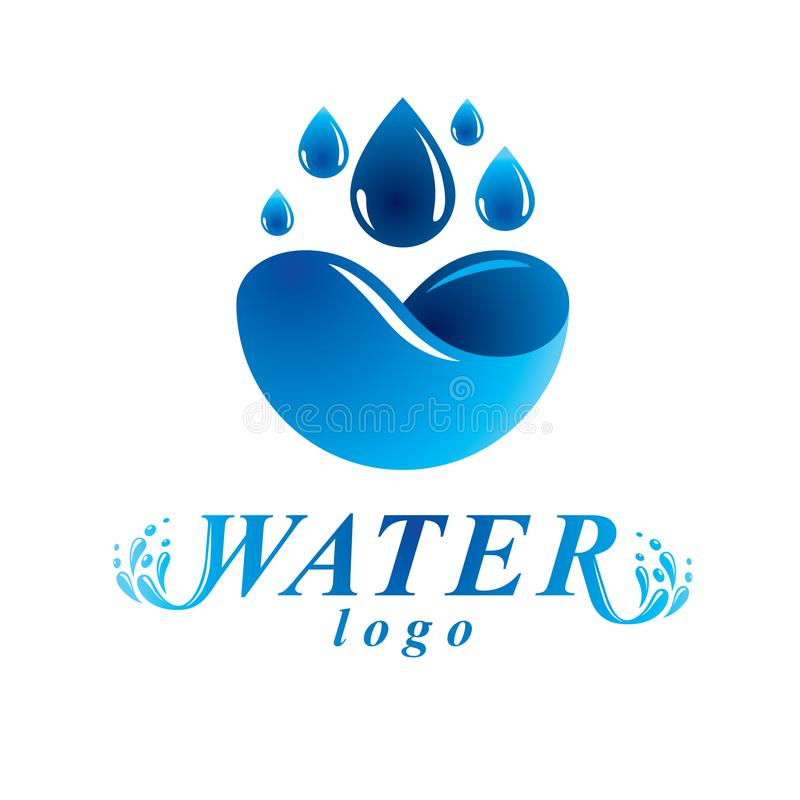 Global water circulation vector logotype for use in spa and resort organizations. Environment protection concept. royalty free illustration