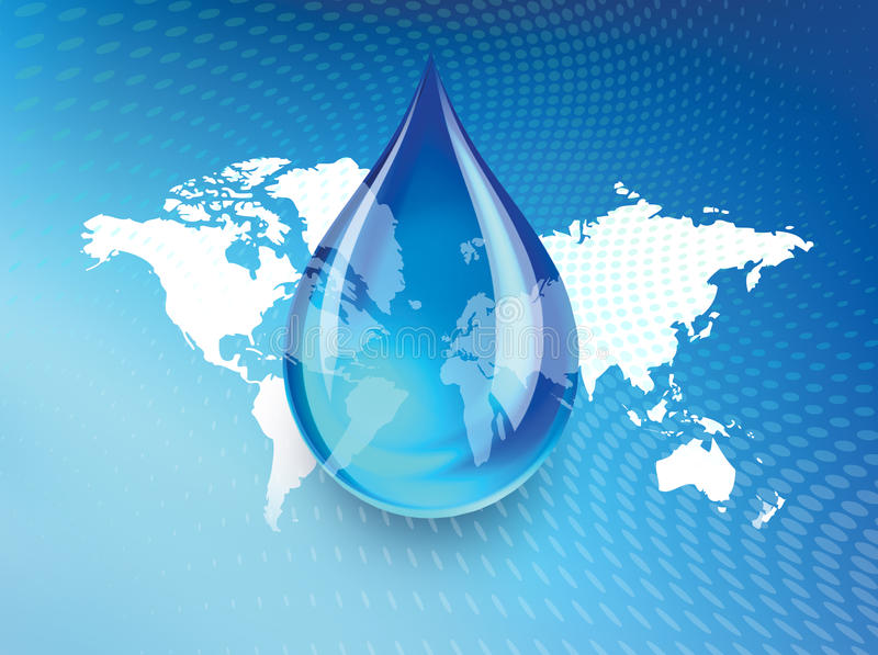 Global Water Shortage Graphic Design. Drop of blue water over world map to illustrate the concept of global fresh water shortage or drought crisis vector illustration
