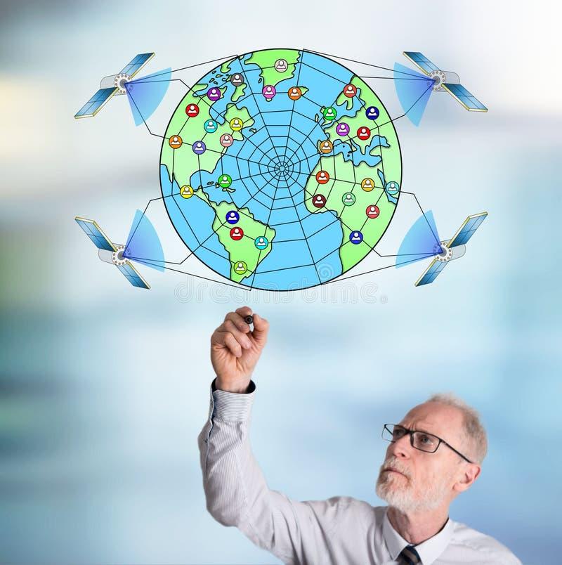 Businessman drawing global web network concept. Global web network concept drawn by a businessman vector illustration