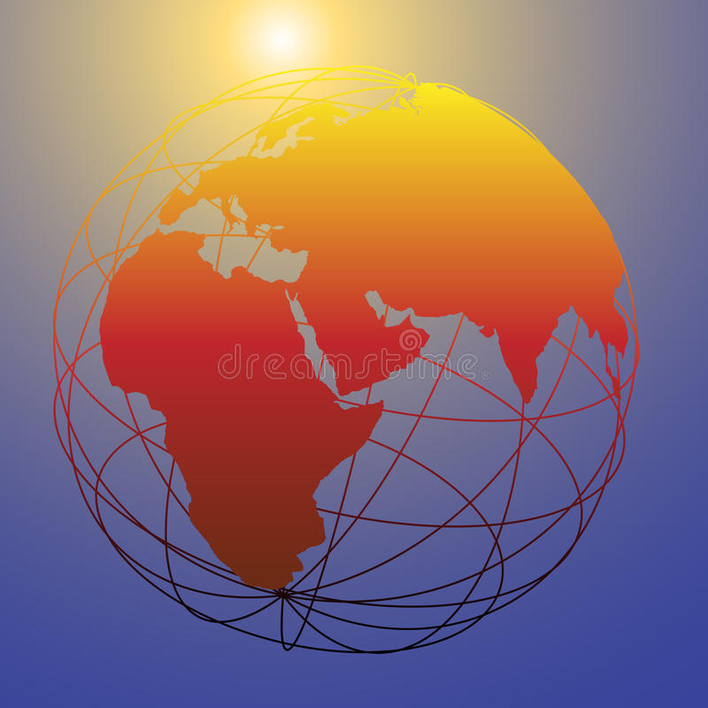 Global wireframe Eastern Earth globe bright sun. Earth wire frame globe on a shining sun background as a symbol of new tomorrow and bright future stock illustration