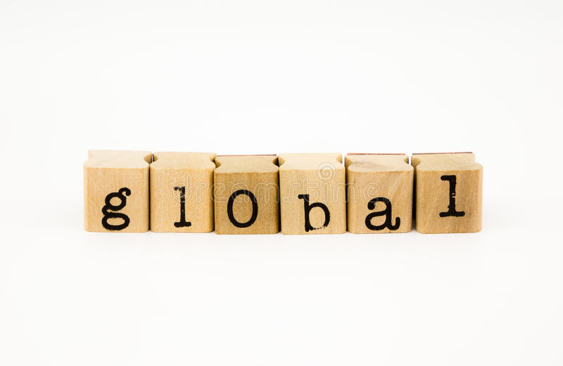 Global wording isolate on white background. Closeup global wording isolate on white background stock photography