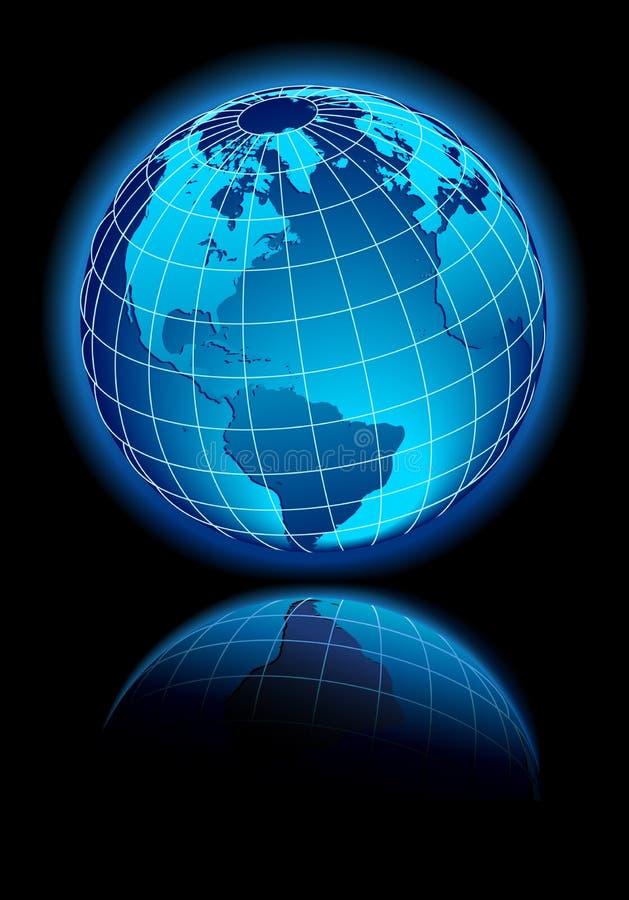 Global World on black background with reflection royalty free illustration