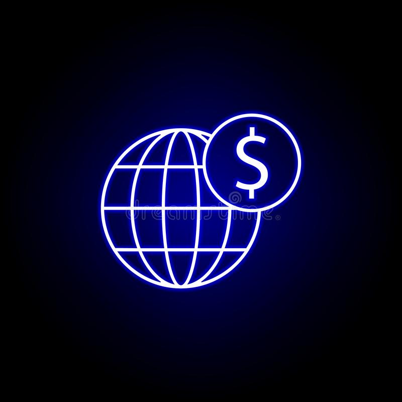 global world dollar icon in neon style. Element of finance illustration. Signs and symbols icon can be used for web, logo, mobile royalty free illustration