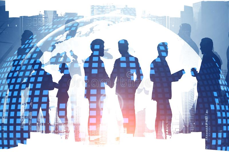 Global world and international business partners. Diverse business partners communicating in modern city with double exposure of digital world map. Concept of royalty free stock photos