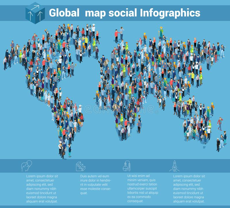 Global world isometric map. People of different professions, population infographic presentation vector template royalty free illustration