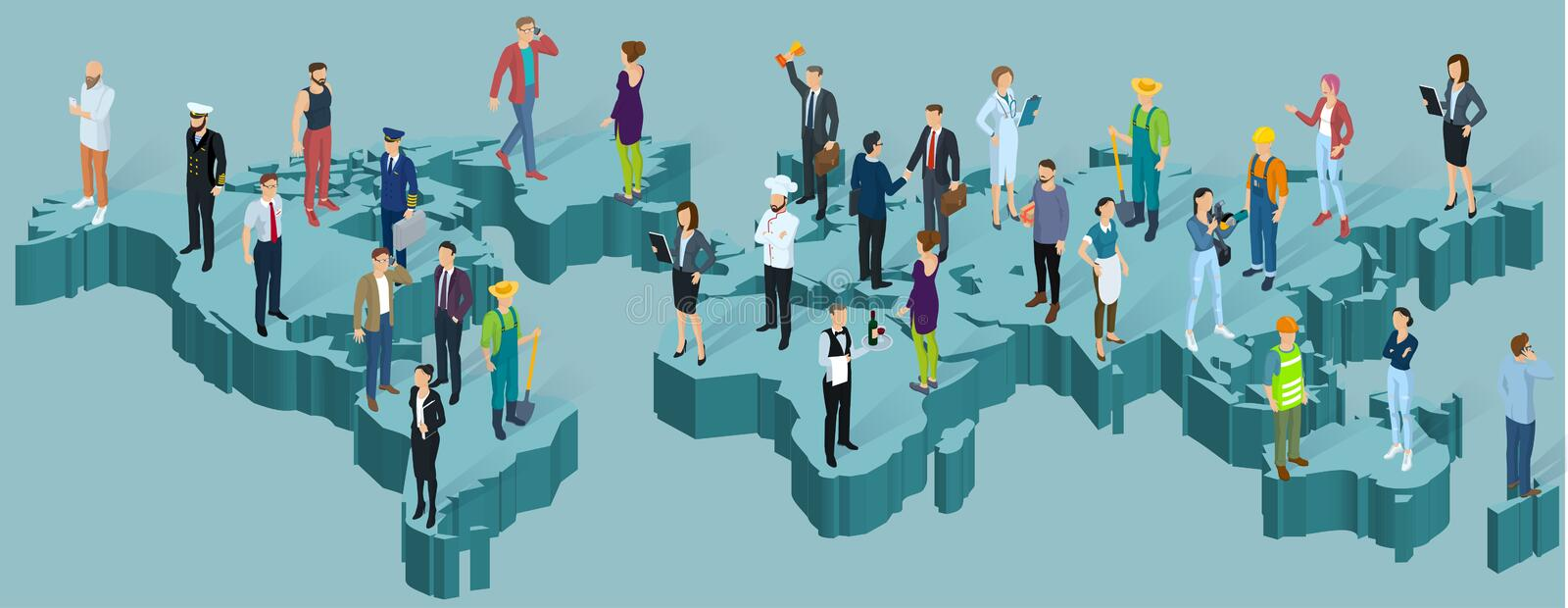 Global world isometric map. People of different professions, population infographic presentation vector template vector illustration