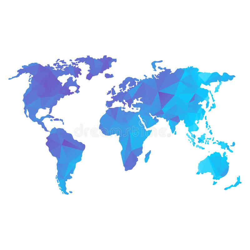 Low poly global world map. Global world map. BLue color. Low poly vector objects isolated on white background. Objects isolated on white background stock illustration