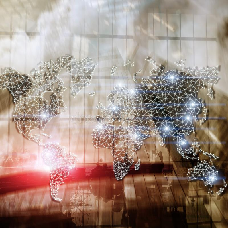 Global World Map Double Exposure Network. Telecommunication, International business Internet and technology concept.  stock images
